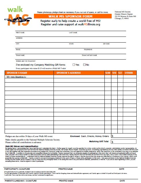 Sponsor Sheets For Fundraising  Example Sponsor Form
